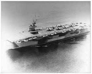 Primary view of object titled 'An aircraft carrier on ocean'.