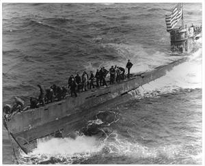 Primary view of object titled '[Photograph of Sailors on the Hull of a Submarine]'.