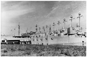 Primary view of object titled 'Reserve fleet at a station at Orange, Texas'.