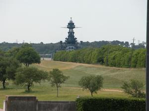 Battleship Texas as viewed from the San Jacinto Monument