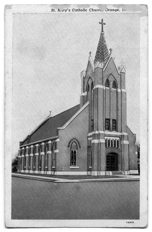 Primary view of object titled 'A postcard of St. Mary's Catholic Church in Orange, Texas'.