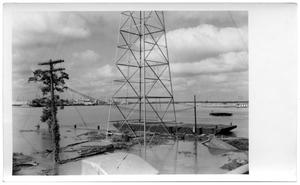 Primary view of object titled '[Photograph of Metal Tower in Flood]'.