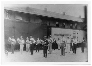 Primary view of object titled '[Community Band at the Depot]'.