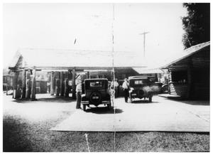 Primary view of object titled '[Log Cabin Gas Station]'.