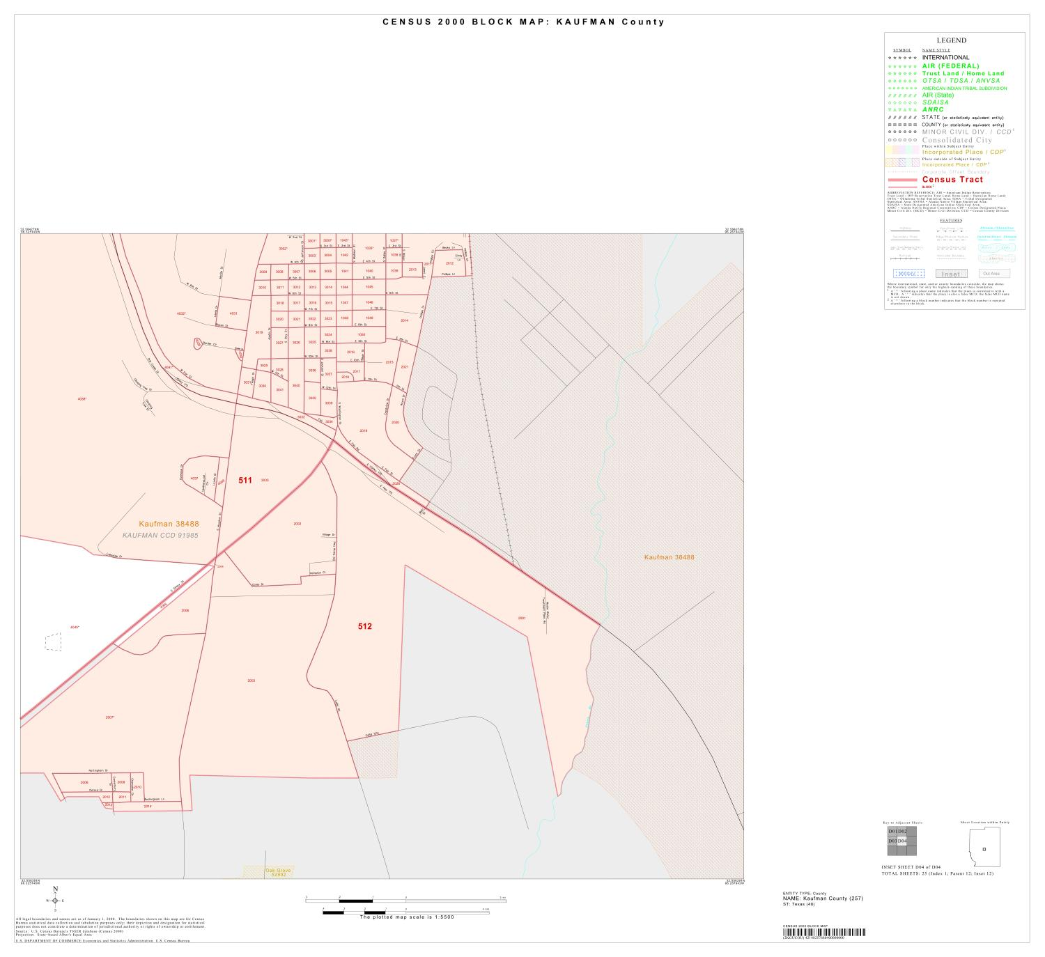 2000 Census County Block Map: Kaufman County, Inset D04                                                                                                      [Sequence #]: 1 of 1