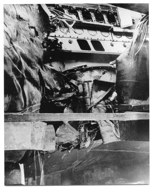 Primary view of object titled '[U.S.S. Harvesson with Damage from a Battle]'.