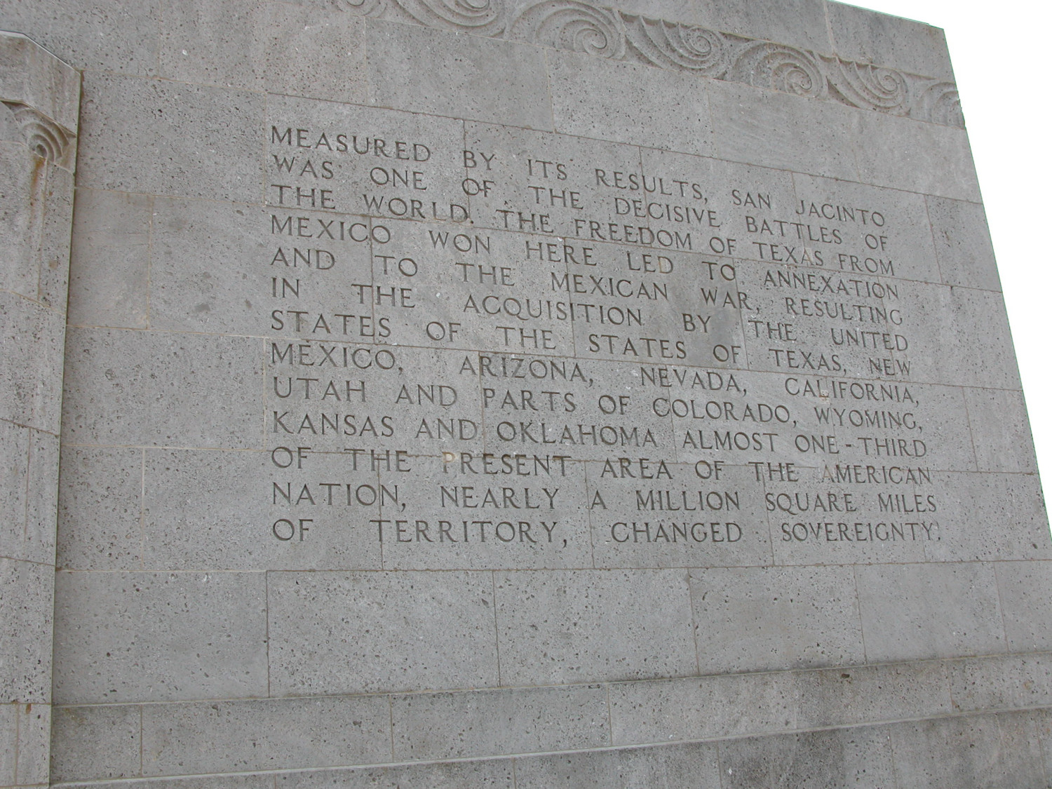 Engraved Frieze On The San Jacinto Monument Measured By Its - Battle of san jacinto map us