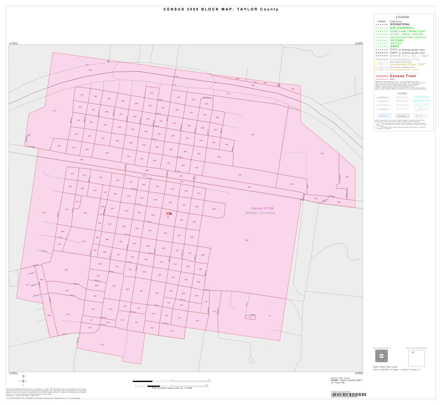2000 Census County Block Map: Taylor County, Inset B01                                                                                                      [Sequence #]: 1 of 1