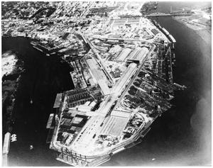 Primary view of object titled '[Aerial View of Orange Texas Shipyards]'.