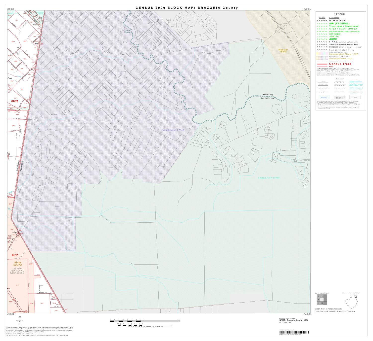 2000 Census County Block Map: Brazoria County, Block 7                                                                                                      [Sequence #]: 1 of 1