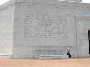 Engraved frieze on the San Jacinto Monument, On This Field
