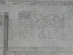 Primary view of object titled 'Engraved frieze on the San Jacinto Monument, Texas Declared her Independence'.