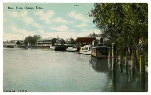 Primary view of object titled '[Postcard of River Front, Orange, Texas]'.
