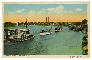 Primary view of object titled '[Postcard of Sabine River at Orange, Texas]'.