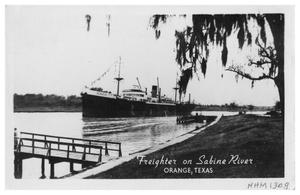 Primary view of object titled 'Freighter on Sabine River, Orange, Texas'.