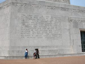 Engraved frieze on the San Jacinto Monument, The First Shot
