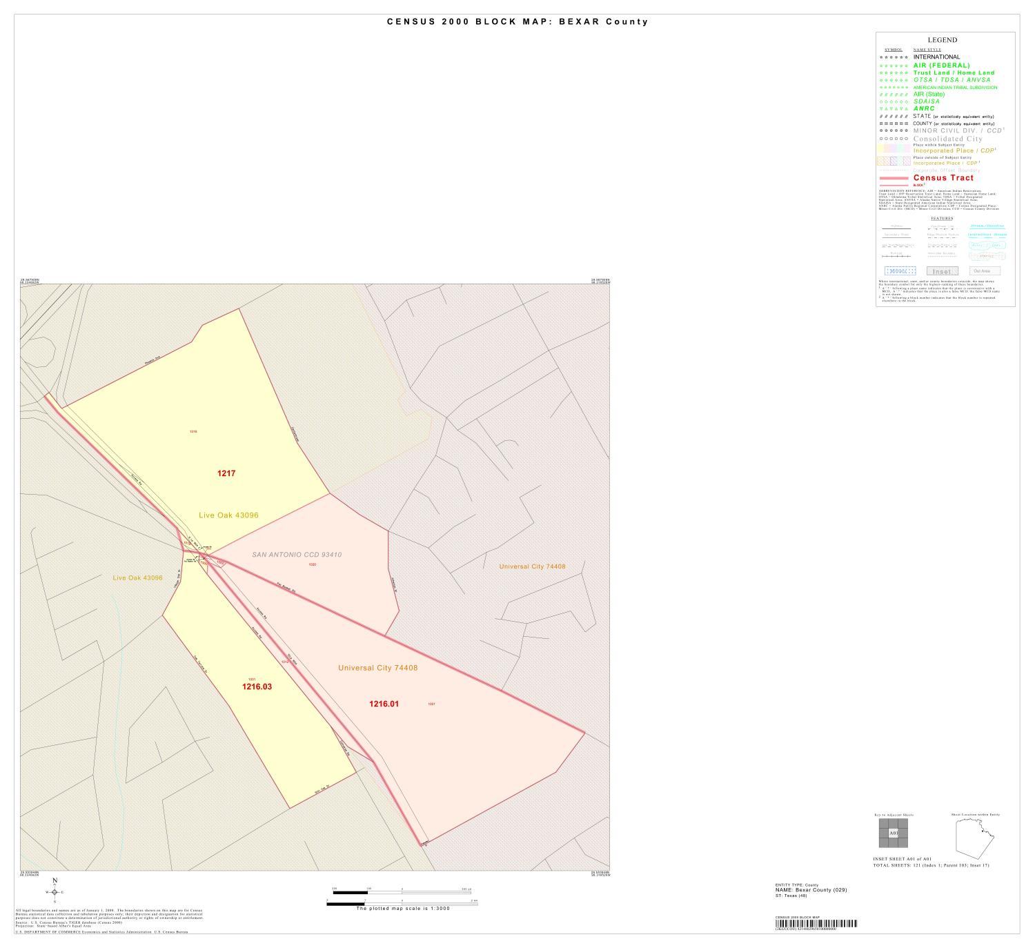 2000 Census County Block Map: Bexar County, Inset A01                                                                                                      [Sequence #]: 1 of 1