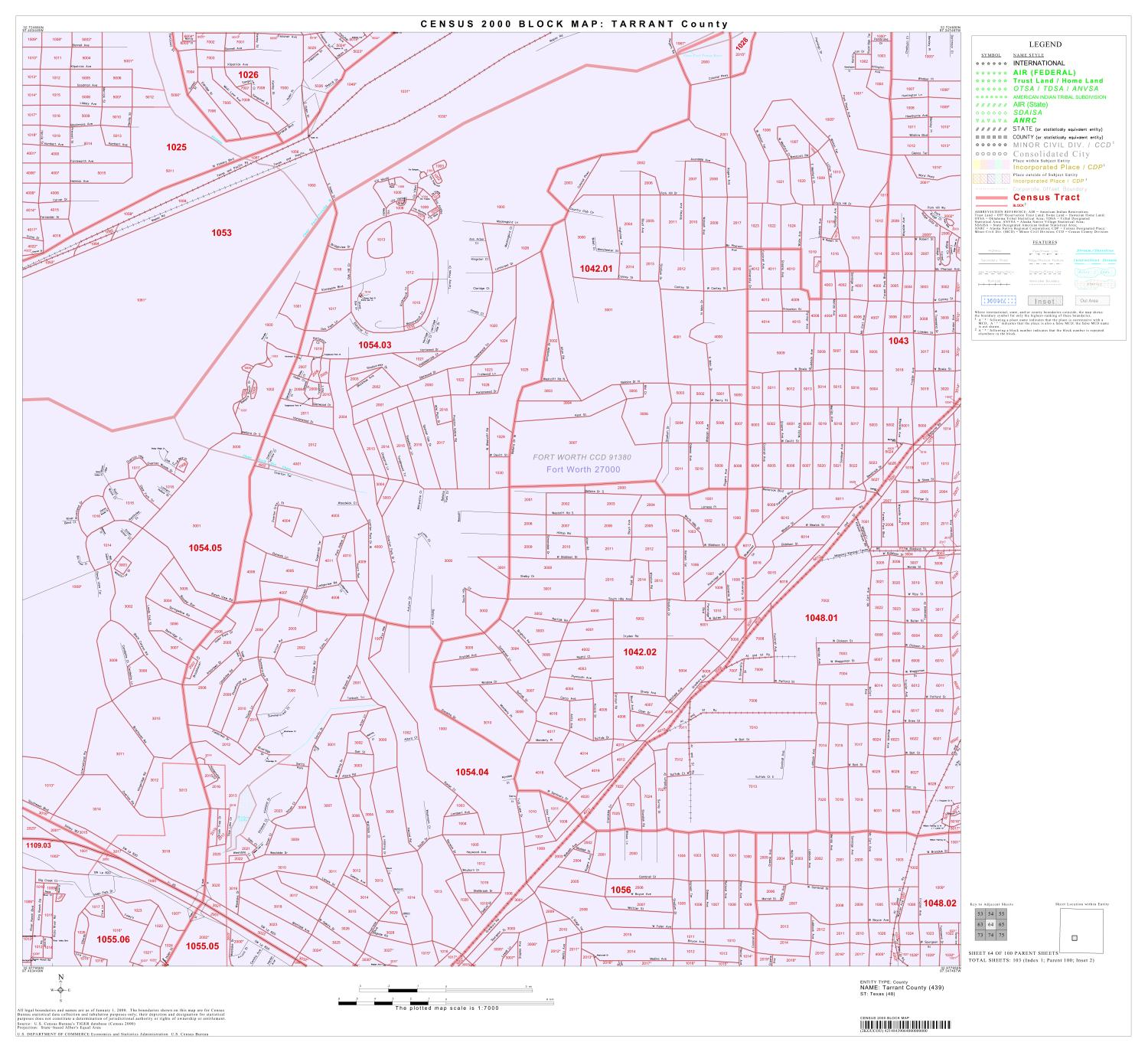 2000 Census County Block Map: Tarrant County, Block 64                                                                                                      [Sequence #]: 1 of 1
