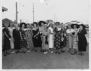 Primary view of object titled '[Fourteen Women at a Launching]'.