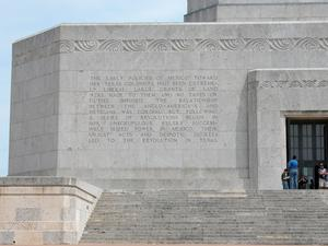 Primary view of object titled 'Engraved frieze on the San Jacinto Monument, Early Policies of Mexico'.