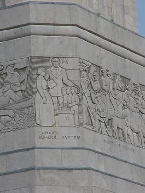 Primary view of object titled 'Detail of frieze on the San Jacinto Monument'.