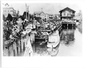 Primary view of object titled 'Crowd on the river front waiting for a torpedo fleet'.
