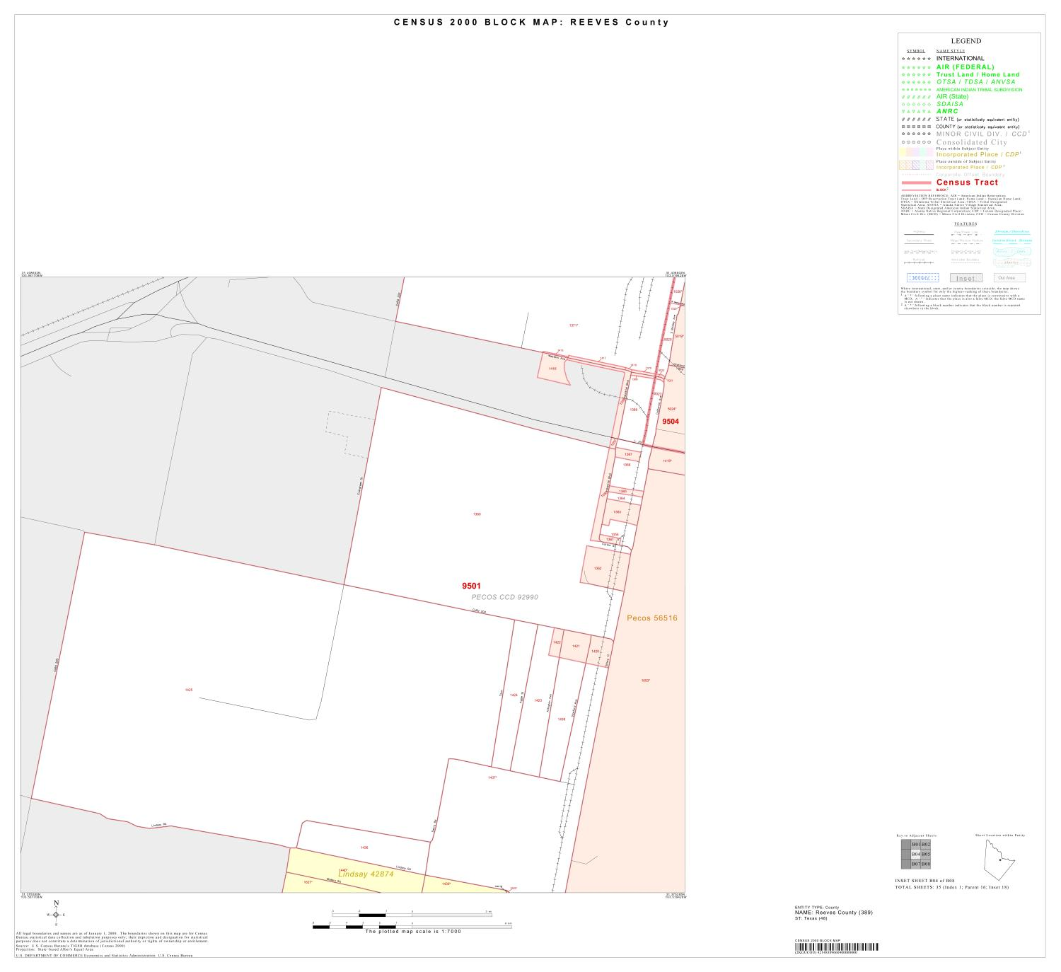 2000 Census County Block Map: Reeves County, Inset B04                                                                                                      [Sequence #]: 1 of 1