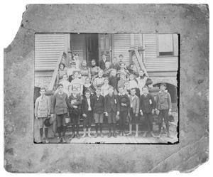 Primary view of object titled '[School children on steps]'.