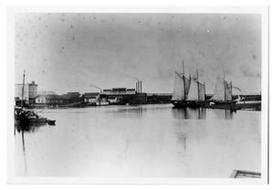 Primary view of object titled '[Photograph of Ships on Sabine River]'.