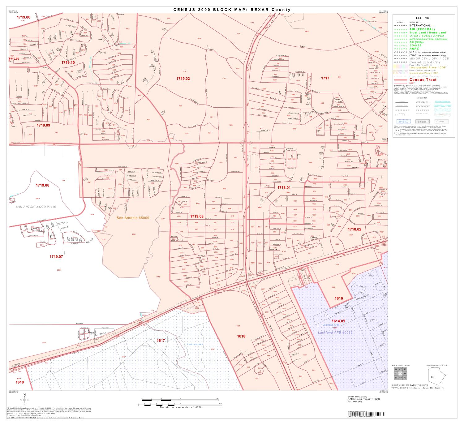 2000 Census County Block Map: Bexar County, Block 58                                                                                                      [Sequence #]: 1 of 1