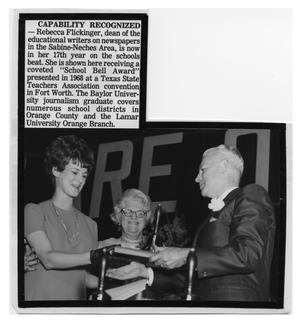 Primary view of object titled '[Rebecca Flickinger Receives an Award]'.