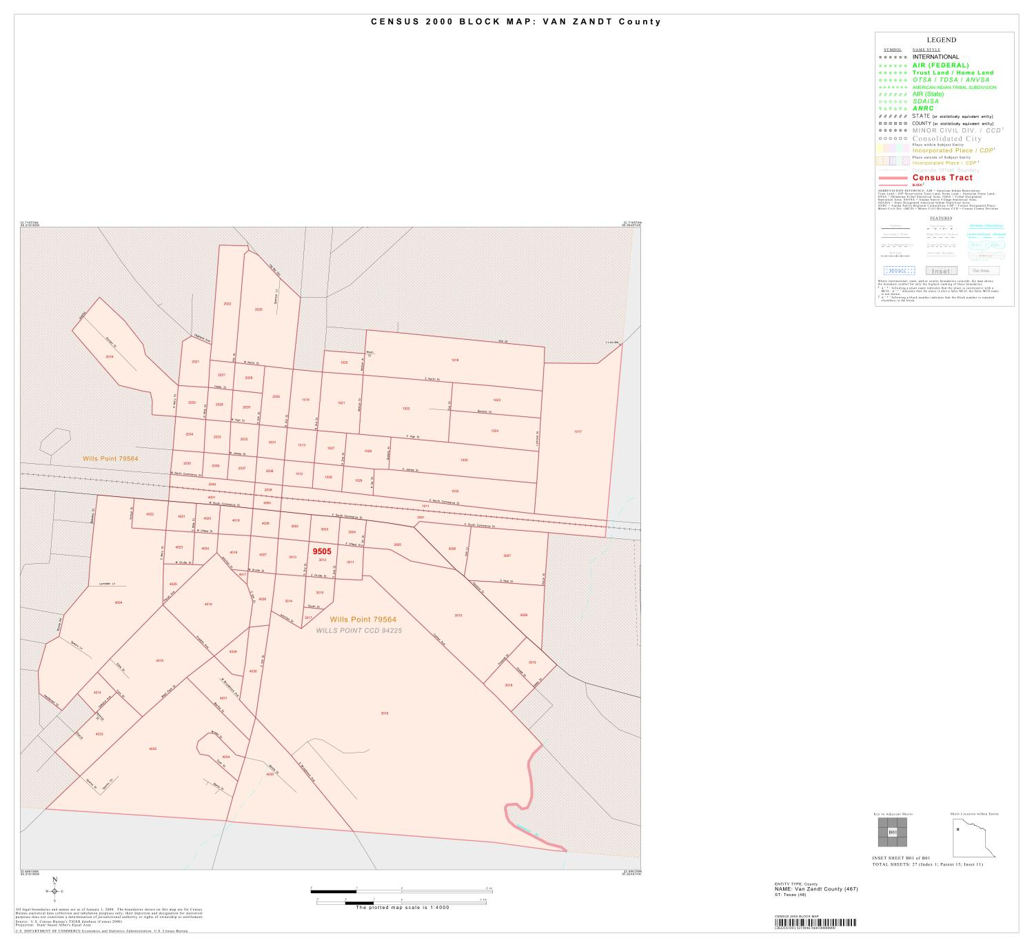 2000 Census County Block Map: Van Zandt County, Inset B01                                                                                                      [Sequence #]: 1 of 1