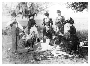 Primary view of object titled '[Group of people at picnic]'.