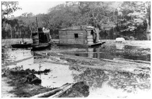 Primary view of object titled '[Photograph of Log Raft on Cow Bayou]'.