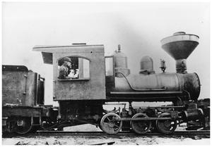 Primary view of object titled '[Photograph of a Train Engine]'.