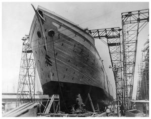 Primary view of object titled '[Wooden cargo ship]'.