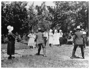 Primary view of object titled '[Group people playing with horsehoes]'.