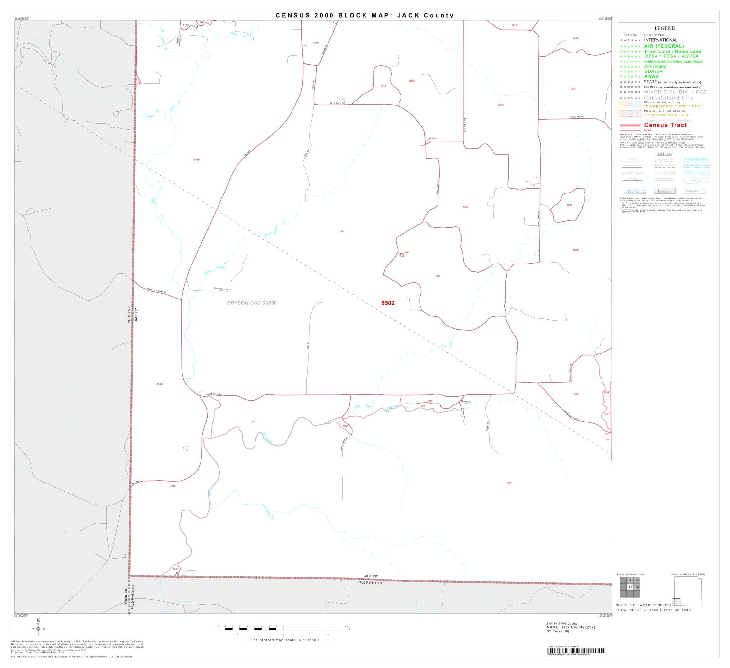 2000 Census County Block Map: Jack County, Block 13                                                                                                      [Sequence #]: 1 of 1