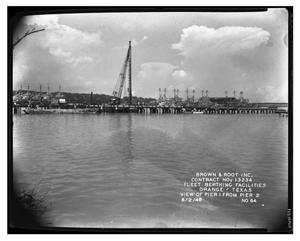 Primary view of object titled '[Photograph of Fleet Berthing Facilities, Orange, Texas]'.
