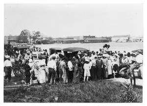 Primary view of object titled '[Photograph of Large Group Along Waterfront]'.