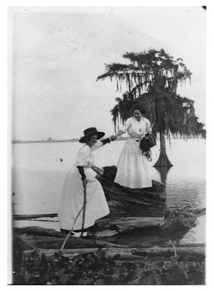 Primary view of object titled '[Photograph of Mrs. Hugh Cox and Mrs. Fielder at Lake Sabine]'.