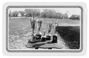 Primary view of object titled 'Five Loving Cups on a Table Outside'.
