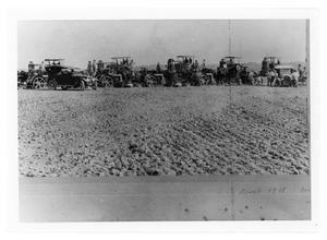 Primary view of object titled 'Plowed Land, Tractors and Cars'.