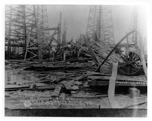 Primary view of object titled '[Debris after a 1922 Blowout in Orange Oil Field]'.