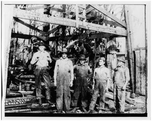 Primary view of object titled '[Five Men at Work in the Oil Fields]'.