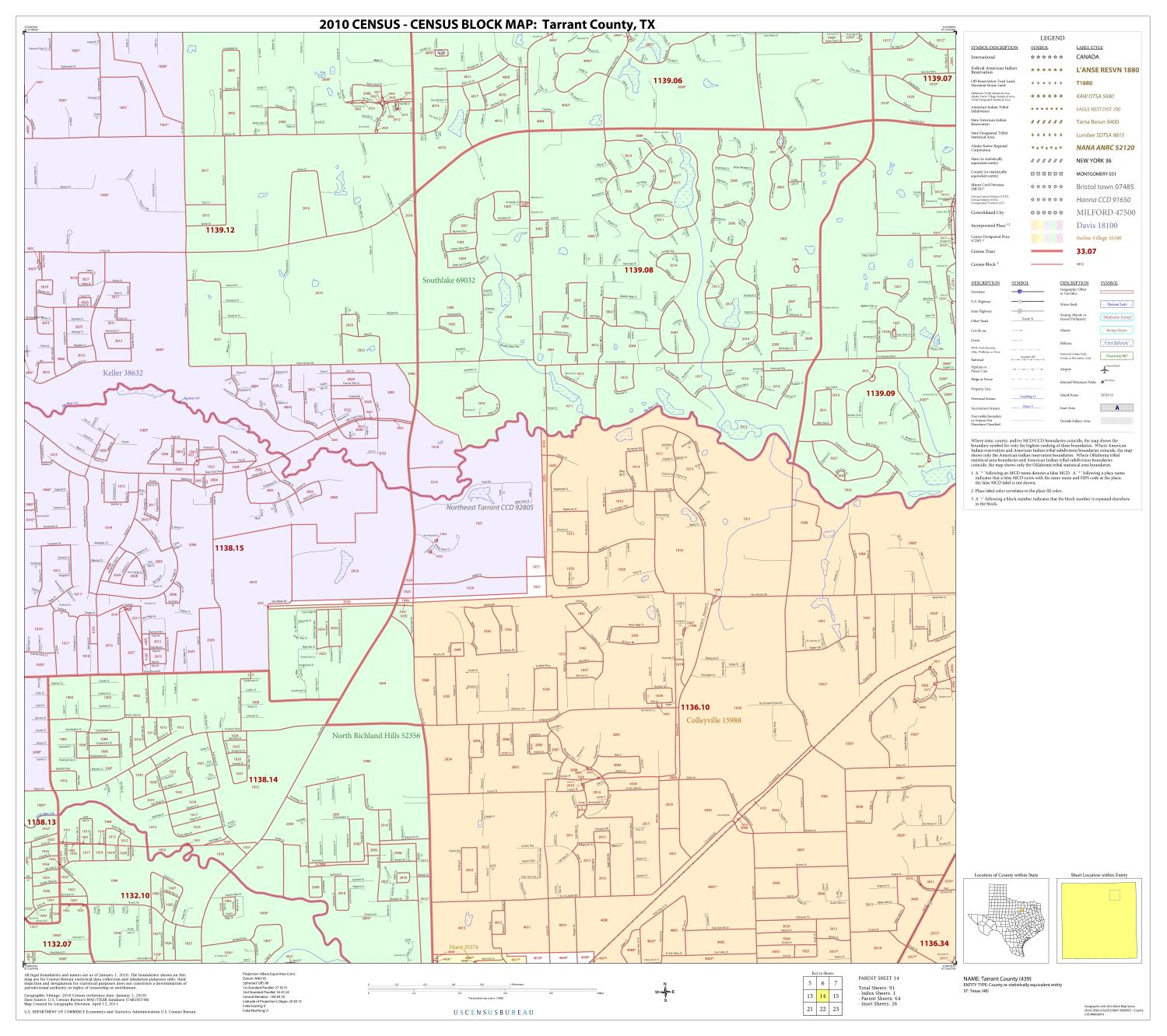 2010 Census County Block Map: Tarrant County, Block 14                                                                                                      [Sequence #]: 1 of 1