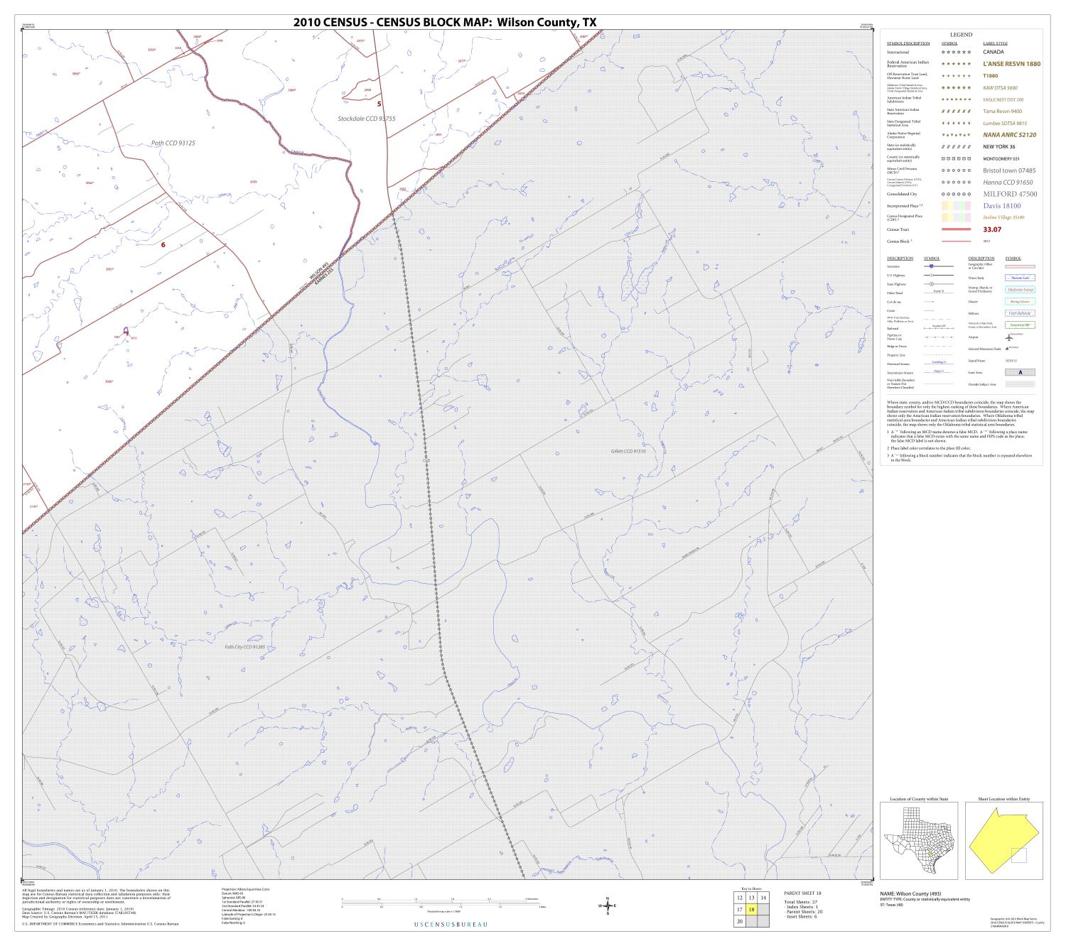 2010 Census County Block Map: Wilson County, Block 18                                                                                                      [Sequence #]: 1 of 1