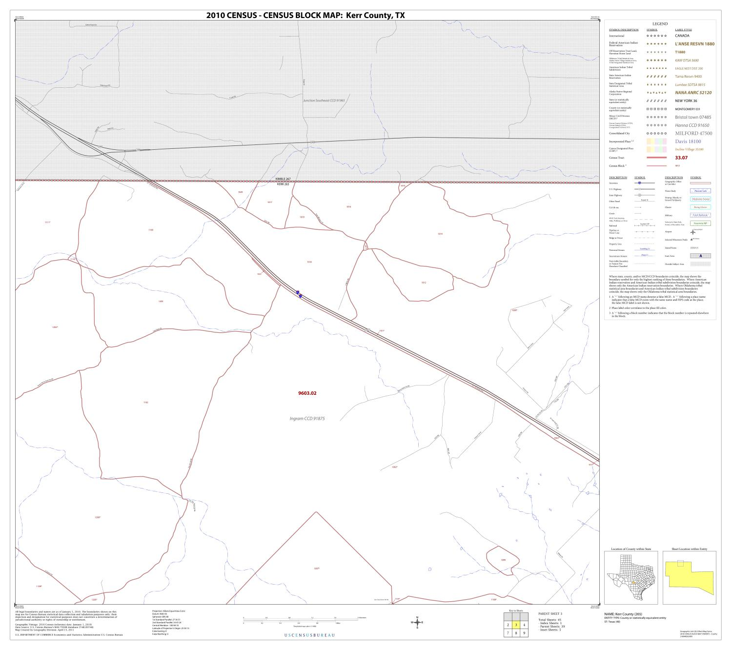 2010 Census County Block Map: Kerr County, Block 3                                                                                                      [Sequence #]: 1 of 1