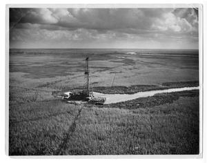 Primary view of object titled '[Oil derrick in marsh]'.