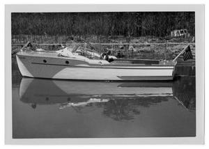 Primary view of object titled '[Motorboat on water]'.